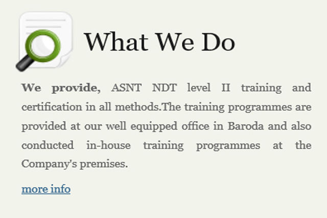 INDUSTRIAL NDT – TRAINING AND SERVICES
